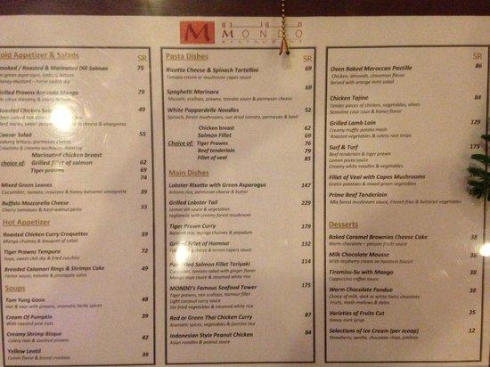 mondo-resturant menu