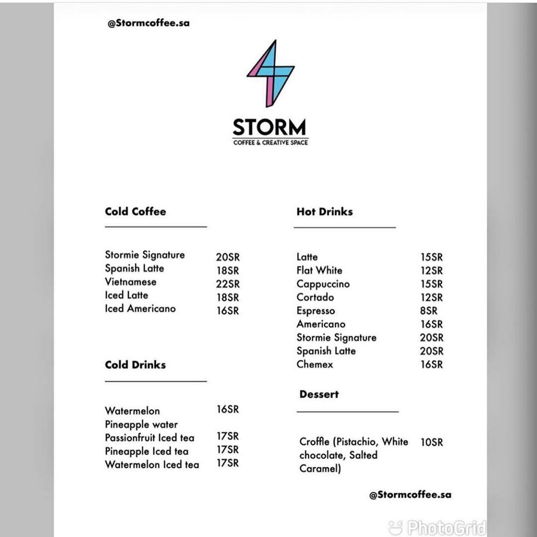 storm coffee menu