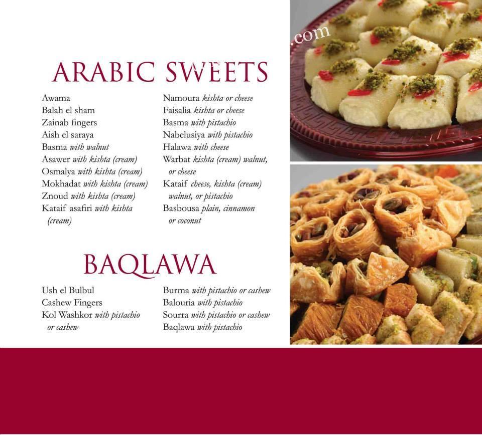 Diplomat Sweets menu